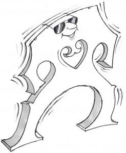 Cartoon of a sunglassed cello bridge