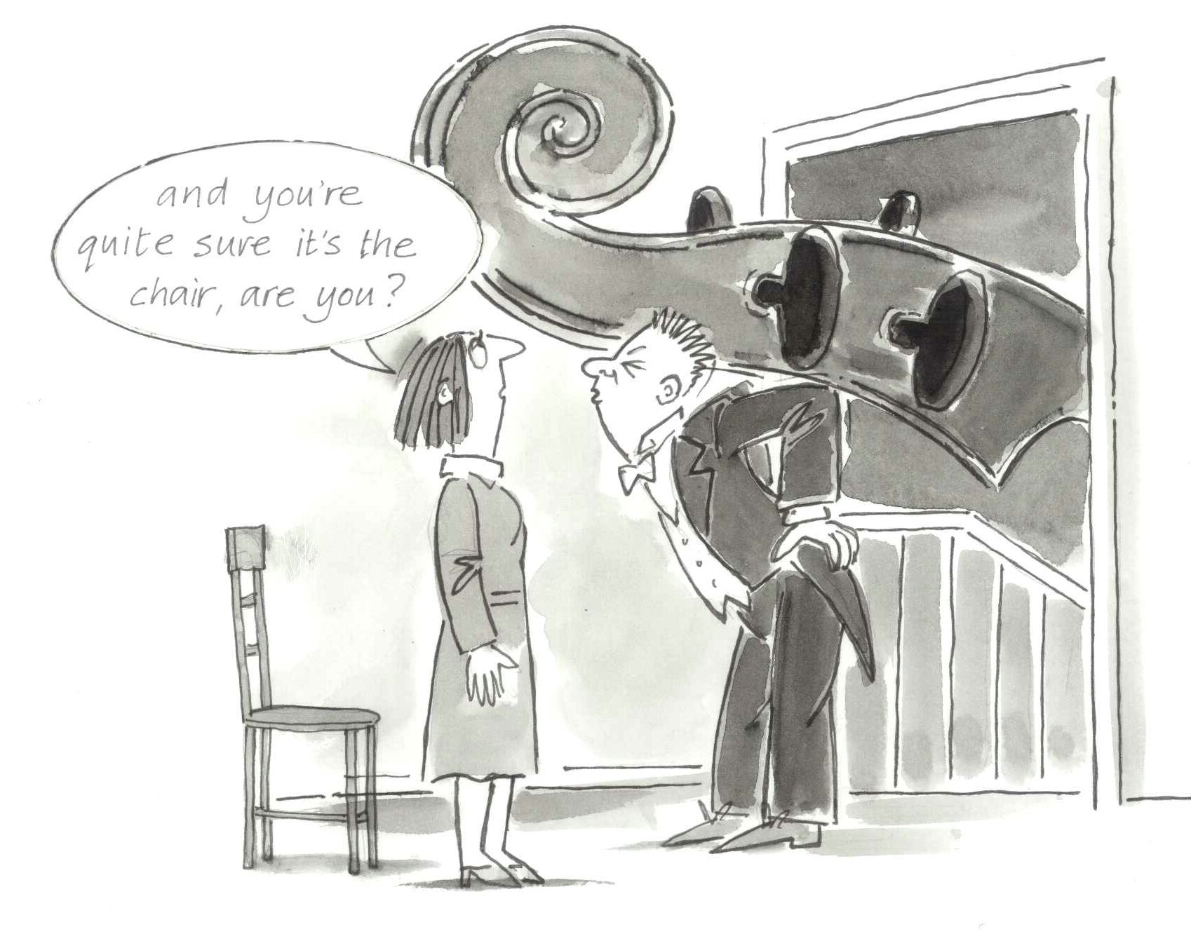 Cartoon of a man carrying a giant cello on his back