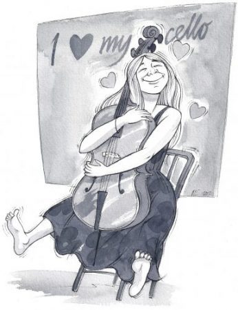Cartoon of a lady hugging her cello