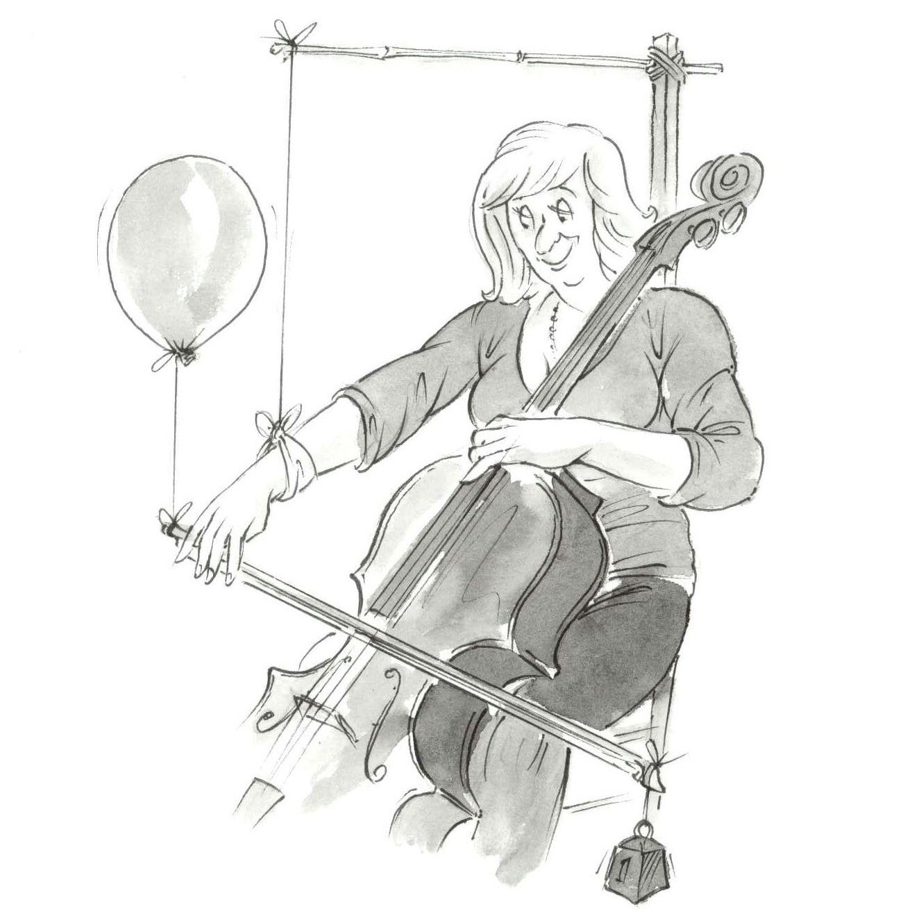 Cartoon of a lady playing with a balloon attached to her bow and her arm propped up