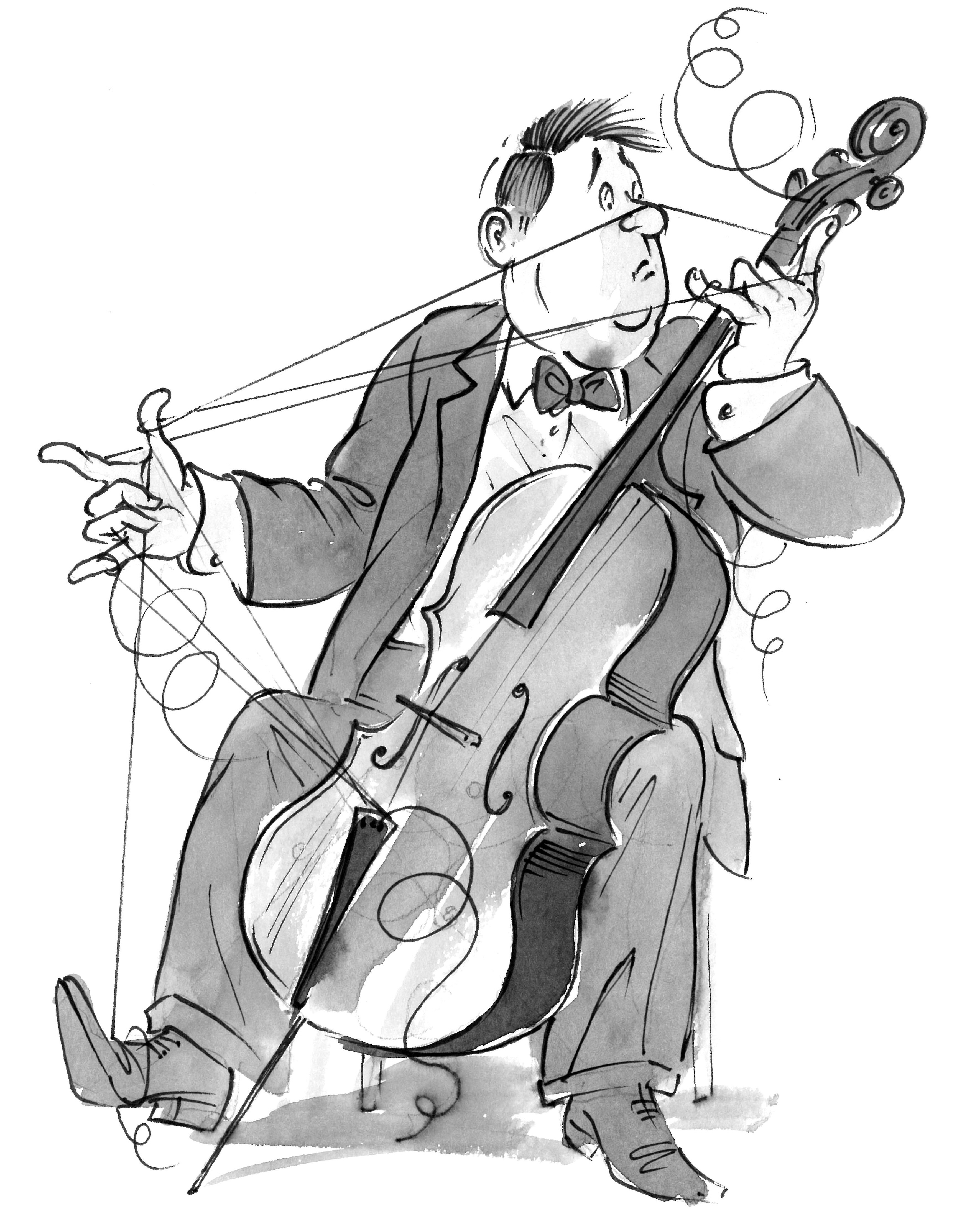 Cartoon of a cellist with all strings broken
