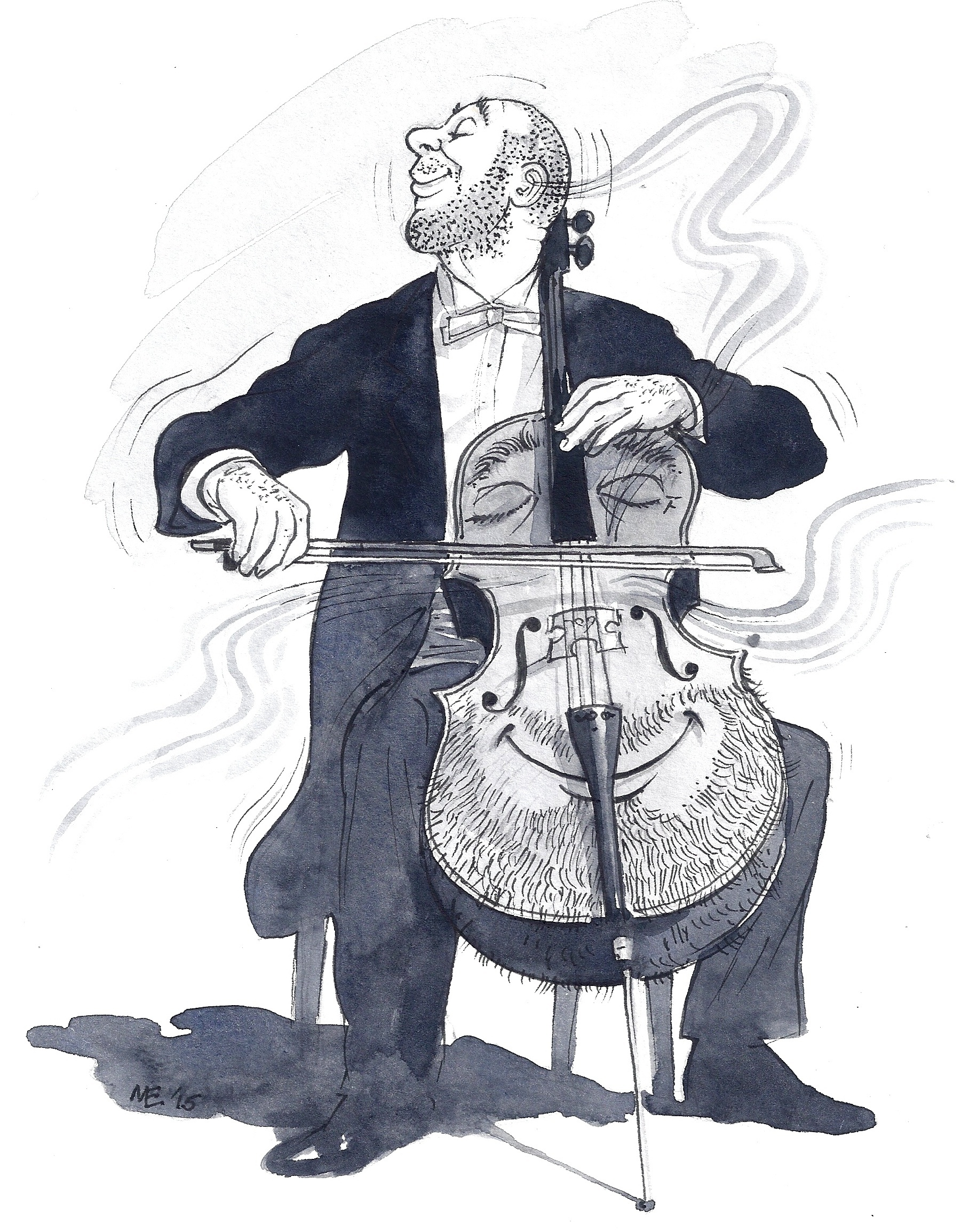 Cartoon of man with beard playing a cello with a beard