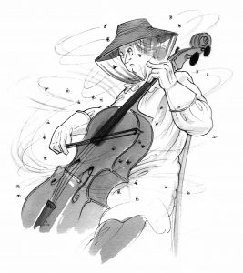 Cartoon of a cellist in bee net being buzzed by lots of bees whilst playing