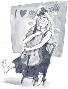 Cellist hugs her cello